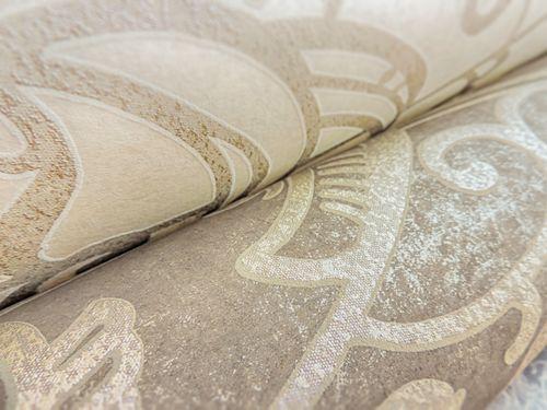 Barock Tapete ATLAS CLA-597-6 Vliestapete geprägt mit grafischem Muster glänzend creme beige-grau weiß 5,33 m2 – Bild 3