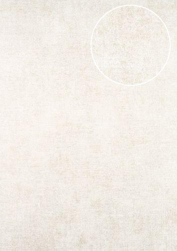 Papel pintado liso ATLAS CLA-598-5 papel pintado no tejido liso de estilo used look efecto satinado crema oro-perlado blanco perla 5,33 m2 – Imagen 1