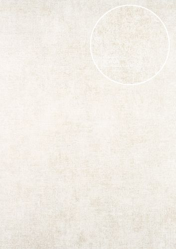 Uni kleuren behang ATLAS CLA-598-5 vliesbehang glad met vogel patroon glanzend crème parelmoer-goud parelwit 5,33 m2 – Bild 1
