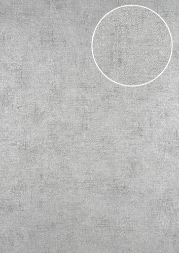 Uni kleuren behang ATLAS CLA-598-7 vliesbehang glad met vogel patroon glanzend zilver parelwit parelmoer-lichtgrijs 5,33 m2 – Bild 1