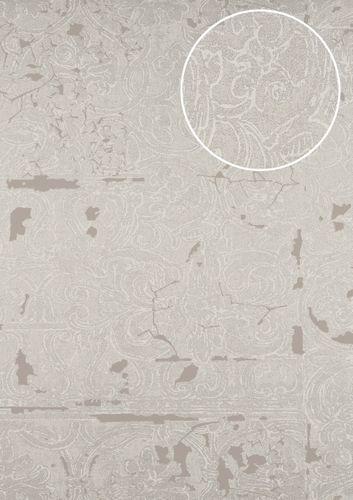 Barock Tapete ATLAS CLA 599 2 Vliestapete Geprägt Mit Ornamenten Glänzend  Silber Grau Beige Braun Beige Perl Beige 5,33 M2 ...