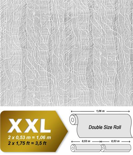 Wall covering non-woven EDEM 341-60 Wallpaper wall paintable deco creative textured white  – Bild 2