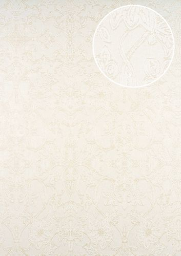 Carta da parati barocca ATLAS CLA-600-1 Carta da parati TNT strutturata con ornamento scintillante bianco bianco-perla oro-perlato 5,33 m2 – Bild 1