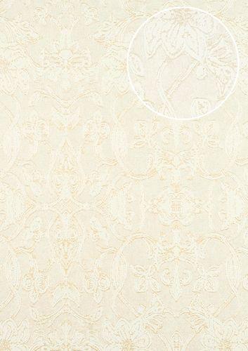 Barock Tapete ATLAS CLA-600-3 Vliestapete geprägt mit Ornamenten glänzend creme perl-weiß perl-gold 5,33 m2 – Bild 1