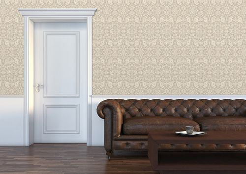 Barock Tapete ATLAS CLA-600-6 Vliestapete geprägt mit Ornamenten glänzend grau perl-weiß perl-gold 5,33 m2 – Bild 4