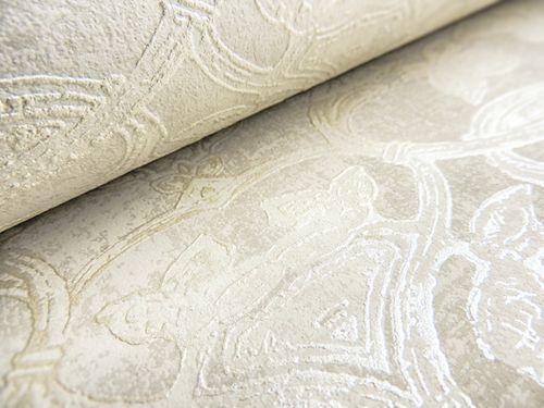 Barock Tapete ATLAS CLA-600-6 Vliestapete geprägt mit Ornamenten glänzend grau perl-weiß perl-gold 5,33 m2 – Bild 3