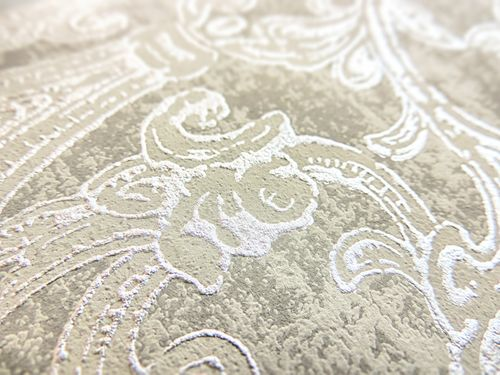 Barock Tapete ATLAS CLA-600-7 Vliestapete geprägt mit Ornamenten glänzend grau grau-braun perl-gold 5,33 m2 – Bild 2