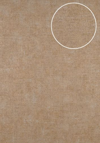 Uni kleuren behang ATLAS CLA-601-1 vliesbehang glad met vogel patroon mat bruin parelmoer-goud parelmoer-grijs 5,33 m2 – Bild 1