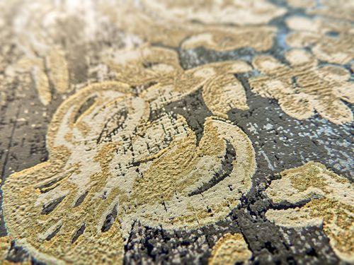 Papel pintado barroco ATLAS CLA-602-9 papel pintado no tejido gofrado con ornamentos florales efecto satinado gris gris-beige marrón dorado 5,33 m2 – Imagen 2