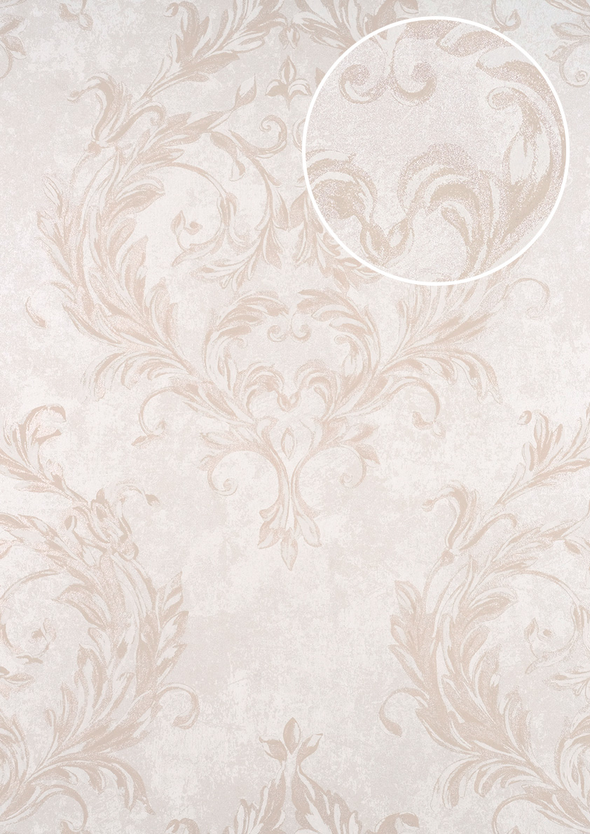 Wallpaper Traditional Acanthus Leaf Lattice Oyster Pearl Off White Sand Beige
