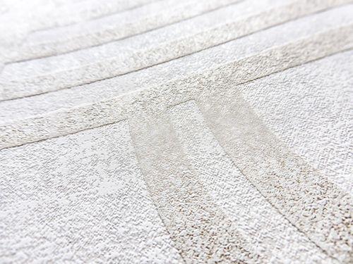 Grafik Tapete ATLAS HER-5139-2 Vliestapete geprägt mit geometrischen Formen schimmernd weiß perl-weiß perl-gold perl-beige 7,035 m2 – Bild 2