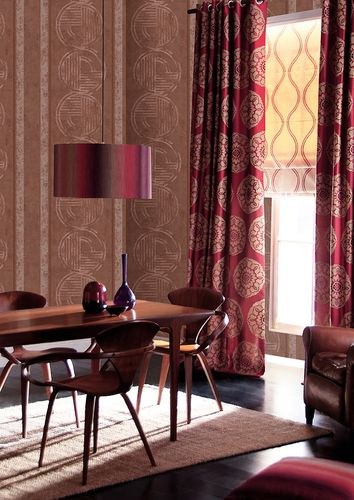 Graphic wallpaper wall ATLAS HER-5139-5 non-woven wallpaper embossed with geometric shapes shimmering brown brown red silver 7.035 m2 (75 ft2) – Bild 4