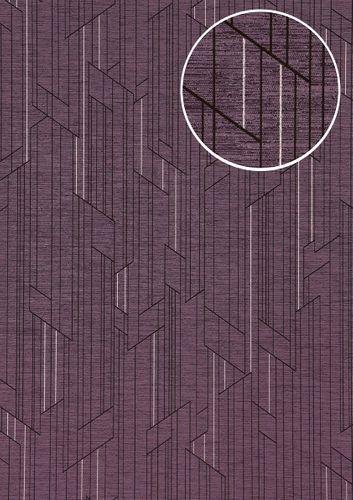 Papier peint à motifs graphiques ATLAS XPL-565-1 papier peint intissé texturé avec un dessin abstrait satiné pourpre violet-pastel violet-nacré rose nacré 5,33 m2 – Bild 1