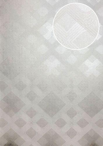 Papier peint à motifs graphiques ATLAS XPL-588-2 papier peint intissé texturé avec des figures géométriques satiné crème blanc-perlé ivoire 5,33 m2 – Bild 1