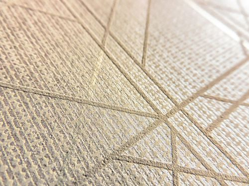 Grafik Tapete ATLAS XPL-591-3 Vliestapete strukturiert mit geometrischen Formen glänzend beige hell-braun braun-beige gold 5,33 m2 – Bild 2
