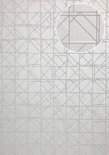 Papier peint à motifs graphiques ATLAS XPL-591-6 papier peint intissé texturé avec des figures géométriques satiné gris gris-clair blanc gris argent 5,33 m2 – Bild 1
