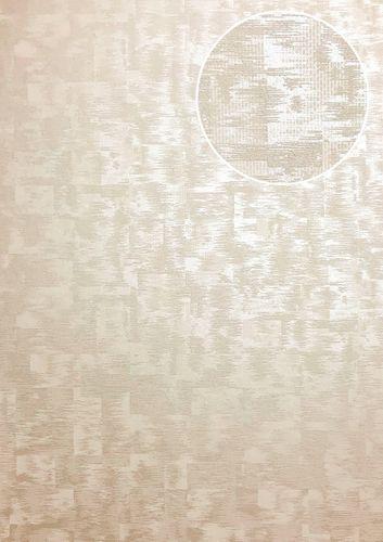 Papel pintado gráfico ATLAS XPL-593-3 papel pintado no tejido texturado con dibujo abstracto efecto satinado crema beige marfil claro blanco perla 5,33 m2