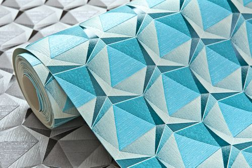 Empapelado estilo retro EDEM 1050-12 papel pintado vinílico ligeramente texturado con figuras geométricas sutilmente brillante crema azul-luminoso azul oceano  5,33 m2 – Imagen 2