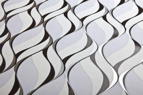 Empapelado estilo retro EDEM 1054-10 papel pintado vinílico ligeramente texturado con dibujo gráfico y acentos metálicos gris negro plata platino 5,33 m2 – Imagen 2
