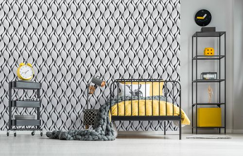 Retro wallpaper wall EDEM 1054-10 vinyl wallpaper slightly textured with graphical pattern and metallic highlights gray black silver platinum 5.33 m2 (57 ft2) – Bild 3