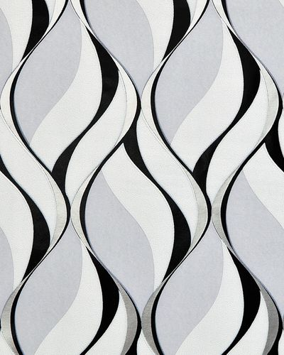 Retro wallpaper wall EDEM 1054-10 vinyl wallpaper slightly textured with graphical pattern and metallic highlights gray black silver platinum 5.33 m2 (57 ft2) – Bild 1