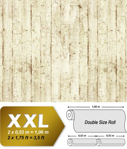Wood wallpaper wall EDEM 81108BR07 hot embossed non-woven wallpaper slightly textured beautiful shabby chic style matt cream beige brown 10.65 m2 (114 ft2) – Bild 1