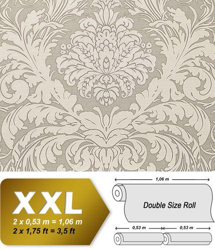 Papel pintado barroco EDEM 9017-37 papel pintado vinílico estampado en caliente con dorso textil gofrado con ornamentos florales destellante crema gris plata  10,65 m2
