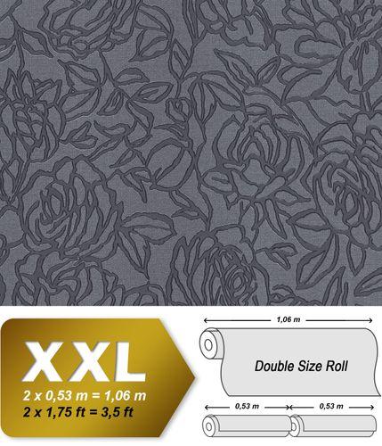 Papier peint floral EDEM 9040-27 papier peint gaufré à chaud avec dos intissé gaufré avec des ornements floraux brillant anthracite gris 10,65 m2