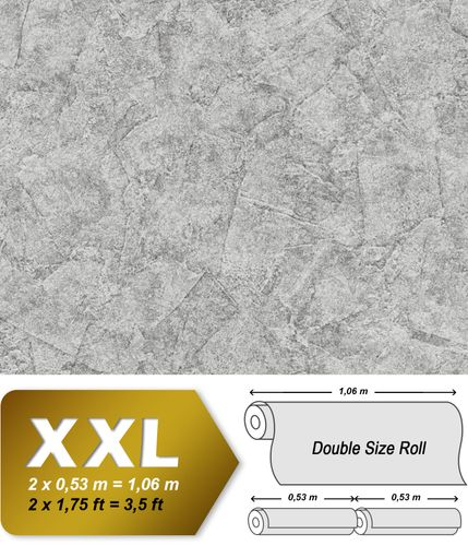 Plaster look wallpaper wall EDEM 9077-27 hot embossed non-woven wallpaper embossed beautiful shabby chic style shiny silver gray 10.65 m2 (114 ft2) – Bild 1