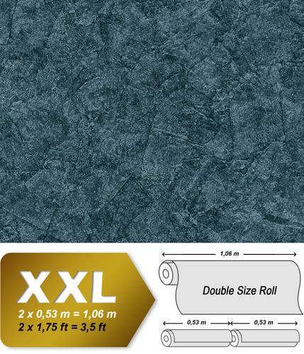 Plaster look wallpaper wall EDEM 9077-29 hot embossed non-woven wallpaper embossed beautiful shabby chic style shiny blue anthracite teal 10.65 m2 (114 ft2) – Bild 1