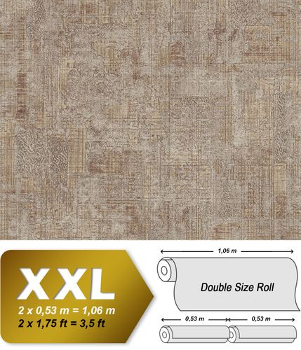 Plaster look wallpaper wall EDEM 9093-16 hot embossed non-woven wallpaper embossed beautiful shabby chic style shiny beige brown silver 10.65 m2 (114 ft2) – Bild 1