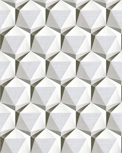 Retro wallpaper wall EDEM 1050-10 vinyl wallpaper slightly textured with geometric shapes subtly glittering cream beige gray platinum white 5.33 m2 (57 ft2) – Bild 1