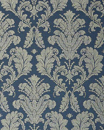 Papier peint néo-baroque EDEM 752-37 bleu profond avec ornement platine et ombrage doré discrèt  – Bild 1