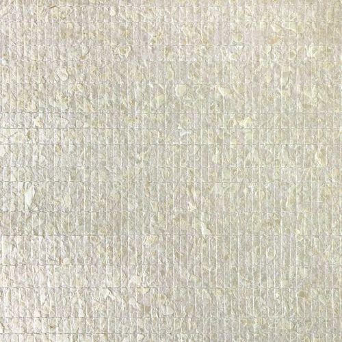 Revêtement mural de luxe coquille WallFace CSA02-4 CAPIZ papier peint non tissé fait à la main avec de vraies coquilles de Capiz optique nacré blanc crème 9,80 m2 rouleau