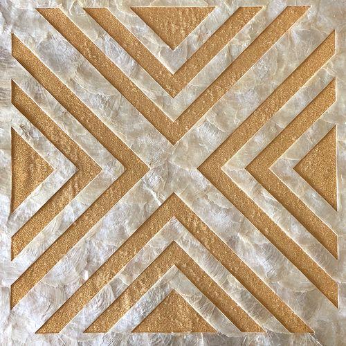Luxus Muschel Wandverkleidung Wallface LU01-12 CAPIZ Dekorfliesen Set handgearbeitet mit echten Muscheln und Glasperlen Perlmutt Optik creme-weiss gold braun 2,40 m2 – Bild 1