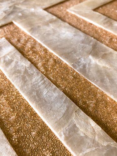 Luxus Muschel Wandverkleidung Wallface LU01-5 CAPIZ Dekorfliesen Set handgearbeitet mit echten Muscheln und Glasperlen Perlmutt Optik creme-weiss gold braun 1 m2 – Bild 4