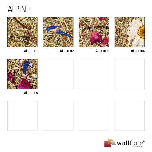 Wandverkleidung Natur Dekor WallFace AL-11003 ALPINE ROSE selbstklebende Tapete strukturiert mit echten unbehandelten alpinen Blumen und Gräsern matt braun pink 4,026 m2 – Bild 6