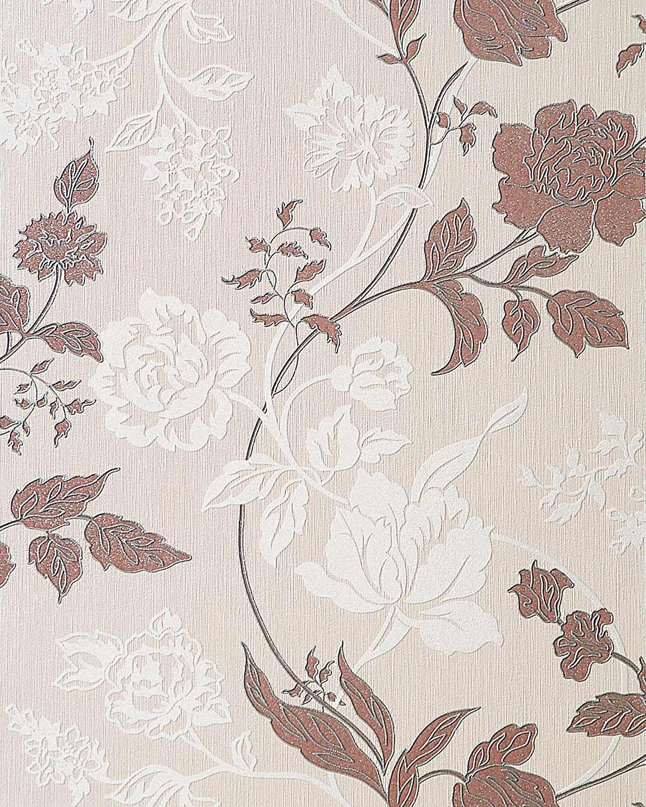 Carta da parati a fiori edem 116 23 floreale in crema for Carta parati fiori