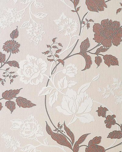 Flower floral vinyl wallpaper wall wallcovering EDEM 116-23 cream white brown silver glitters  – Bild 1