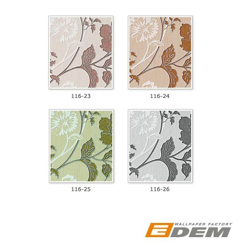 Flower vinyl wallpaper wall wallcovering EDEM 116-24 light caramel white copper-brown silver  – Bild 4