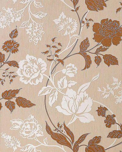 3D Blumentapete Landhaustapete EDEM 116-24 Design Blumen Floral Tapete hell-karamell weiß kupfer-braun silber – Bild 1