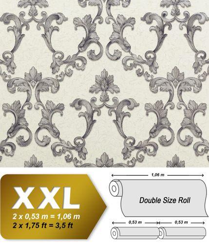 Barock Tapete EDEM 9085-27 heißgeprägte Vliestapete geprägt mit floralen 3D Ornamenten schimmernd weiß silber grau 10,65 m2 – Bild 1