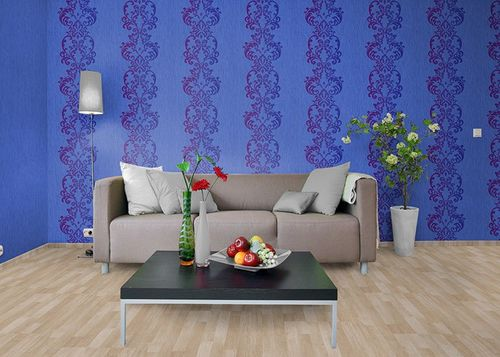 Style fine striped plain wallpaper wallcovering wall EDEM 118-22 blue lilac pearl  – Bild 2