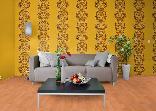 Baroque ornament wallpaper modern art wallcovering EDEM 178-21 yellow brown pearl  – Bild 2