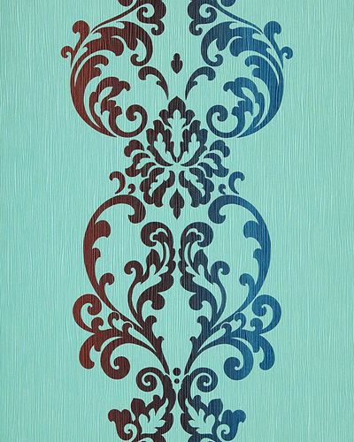 Baroque ornament wallpaper modern art wallcovering EDEM 178-26 turquoise blue brown red  – Bild 1