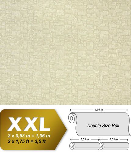Wallcovering wallpaper wall non woven EDEM 922-23 stone textured heavyweight beige cream  – Bild 1