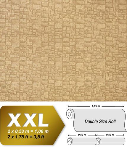 Wallcovering wallpaper wall non woven EDEM 922-25 stone textured heavyweight vinyl brown light brown  – Bild 1