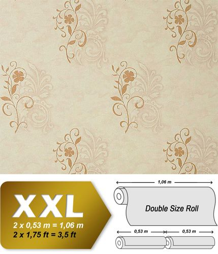 Antique wallpaper wall EDEM 926-34 Wallcovering deluxe heavyweight floral non-woven plaster flower beige bronze  – Bild 1