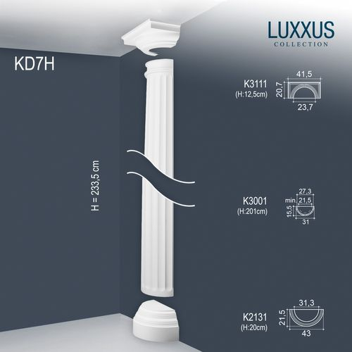 Orac Decor KD7H LUXXUS Halbsäulen Set Wand-Stuck-Säule Relief-Form antik 2,33 m