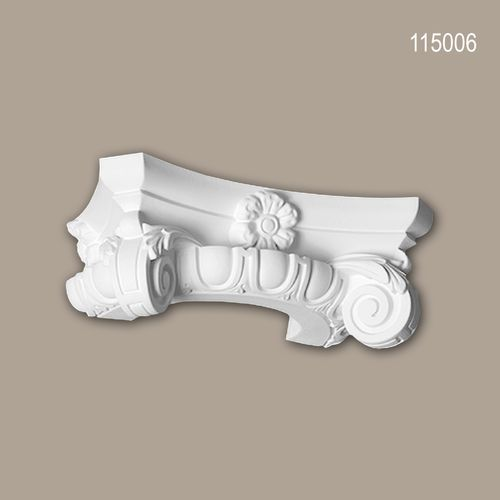 Halbsäulen Kapitell PROFHOME 115006 Säule Zierelement Ionischer Stil weiß – Bild 1